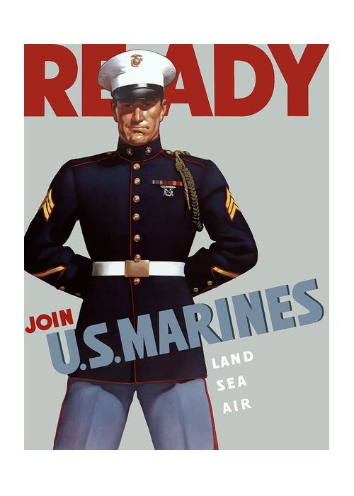 Marine Recruiting Greeting Card featuring the painting Us Marines - Ready by War Is Hell Store