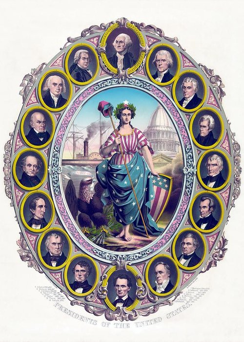 Presidents Greeting Card featuring the drawing Us Presidents And Lady Liberty by War Is Hell Store