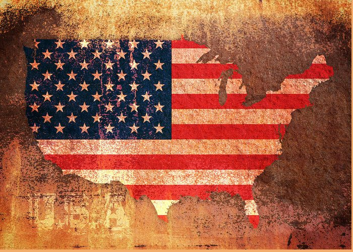 Us Flag Greeting Card featuring the digital art Usa Star And Stripes Map by Michael Tompsett