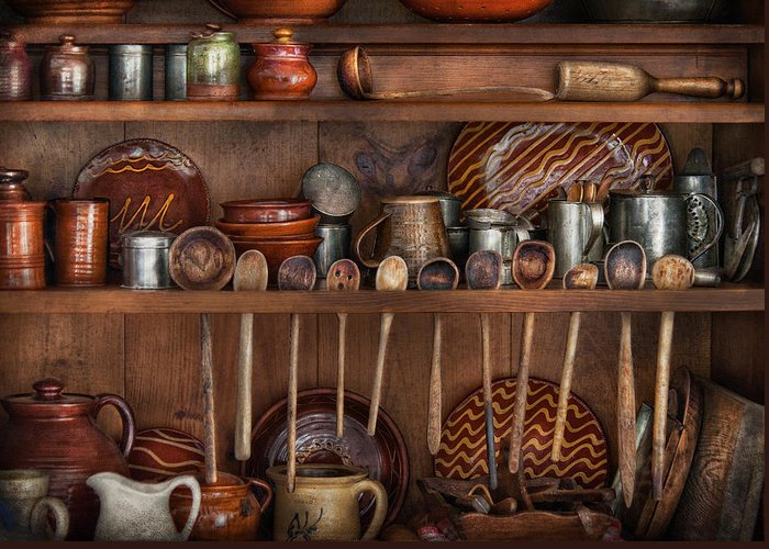 Kitchen Greeting Card featuring the photograph Utensils - What I Found In A Cabinet by Mike Savad