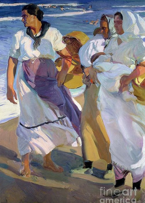 Valencian Fisherwomen Greeting Card featuring the painting Valencian Fisherwomen by Joaquin Sorolla y Bastida