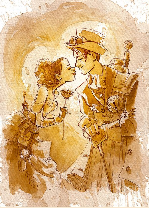 Steampunk Greeting Card featuring the painting Valentine by Brian Kesinger
