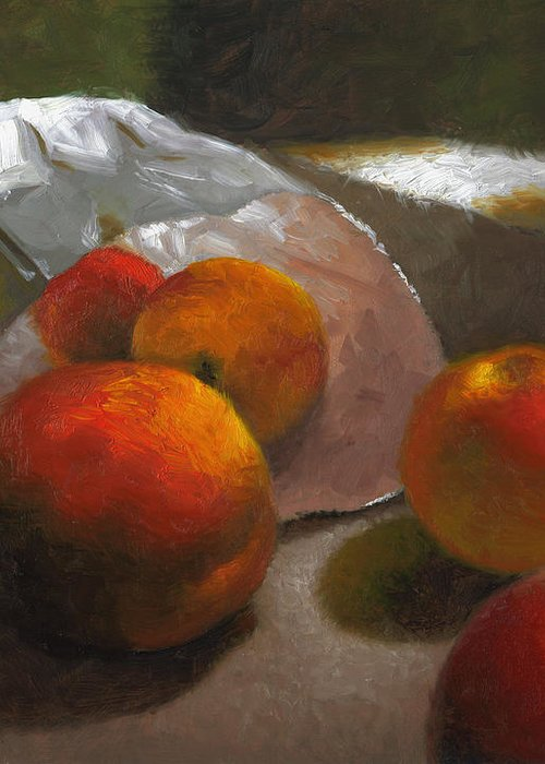 Peaches Greeting Card featuring the painting Vanzant Peaches by Timothy Jones