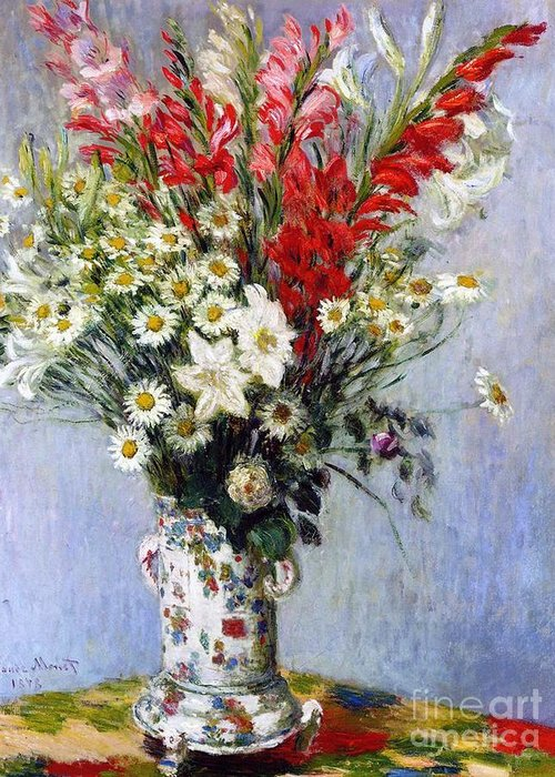 Vase Of Flowers Greeting Card featuring the painting Vase Of Flowers by Claude Monet