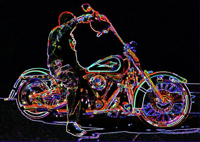 Harley Greeting Card featuring the photograph Vato N' Harley Aglow by Kimberley Joy Ferren