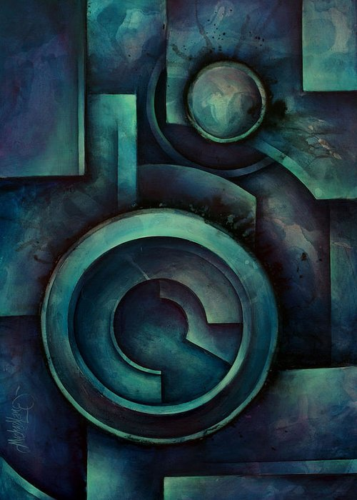 Geometric Design Greeting Card featuring the painting 'vault' by Michael Lang