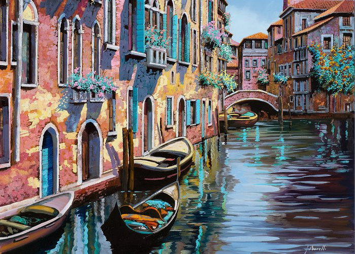 Venice Greeting Card featuring the painting Venezia In Rosa by Guido Borelli