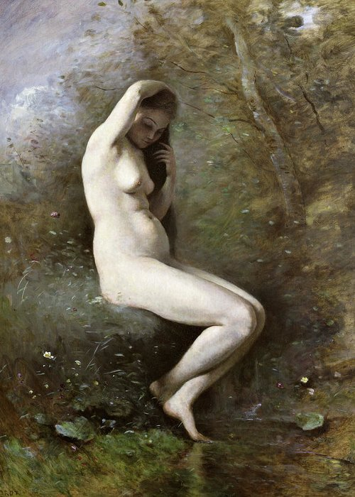 Venus Bathing Greeting Card featuring the painting Venus Bathing by Jean Baptiste Camille Corot