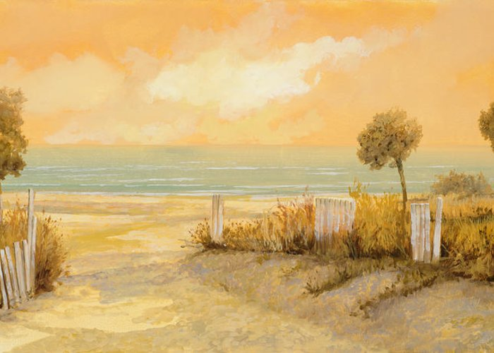 Beach Greeting Card featuring the painting Verso La Spiaggia by Guido Borelli
