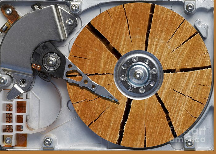 Humor Greeting Card featuring the photograph Very Old Hard Disc by Michal Boubin