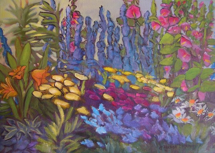 Oil Painting Greeting Card featuring the painting Vic Park Garden by Carol Hama Chang