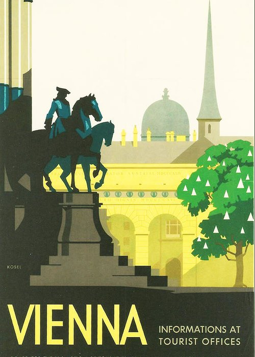 Vintage Travel Greeting Card featuring the digital art Vienna by Georgia Fowler