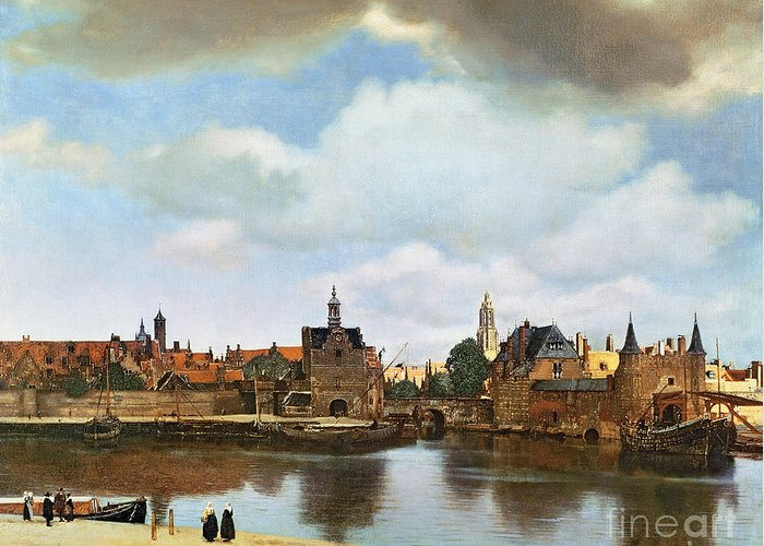 View Greeting Card featuring the painting View Of Delft by Jan Vermeer