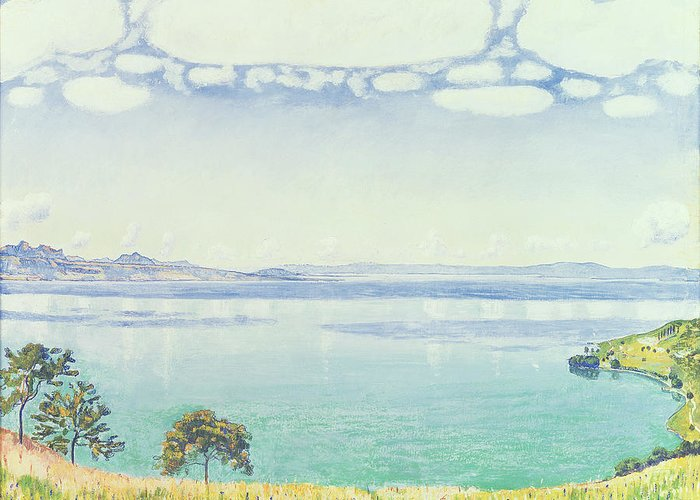 View Greeting Card featuring the painting View Of Lake Leman From Chexbres by Ferdinand Hodler