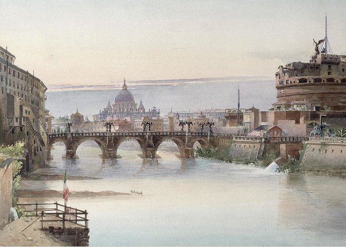View Greeting Card featuring the painting View Of Rome by I Martin