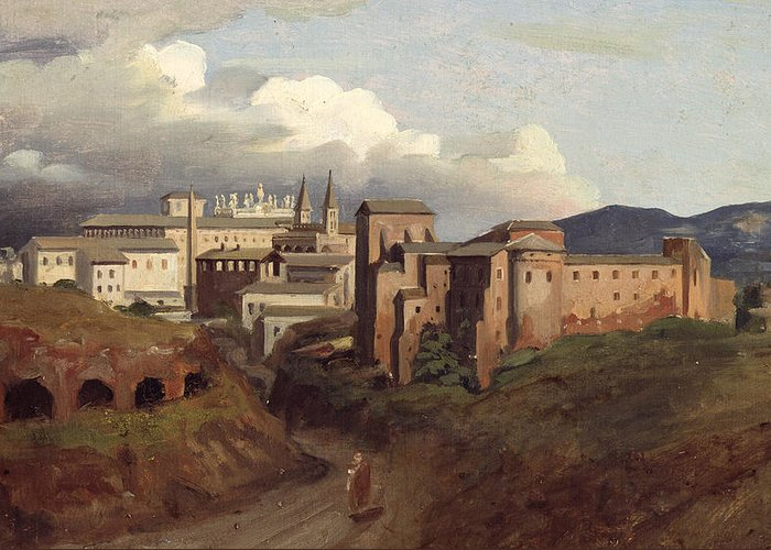 View Greeting Card featuring the painting View Of Saint John Lateran Rome by Joseph Desire Court
