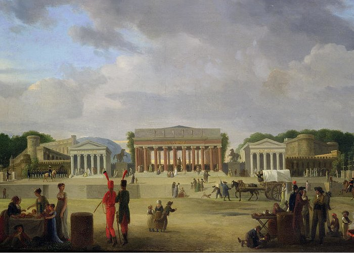 View Greeting Card featuring the painting View Of The Grand Theatre Constructed In The Place De La Concorde For The Fete De La Paix by Jean Baptiste Louis Cazin