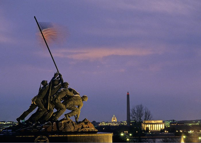 Bravery Greeting Card featuring the photograph View Of The Iwo Jima Monument by Kenneth Garrett