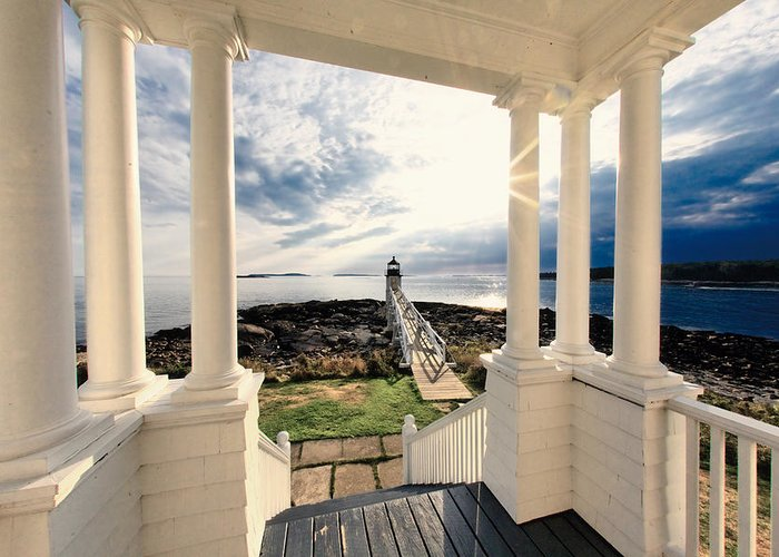 Atlantic Ocean Greeting Card featuring the photograph View Of The Marshall Point Lighthouse From The Keeper's House by George Oze