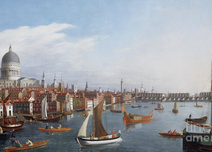 View The River Thames With Paul And Old London Bridge Greeting Card featuring the painting View Of The River Thames With St Paul's And Old London Bridge  by William James
