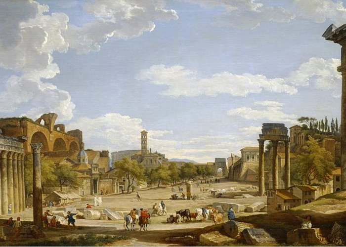 View Greeting Card featuring the painting View Of The Roman Forum by Giovanni Paolo Panini