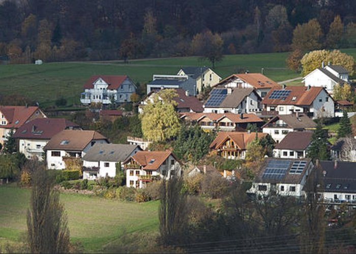 Color Image Greeting Card featuring the photograph Village Of Residential Homes In Germany by Greg Dale