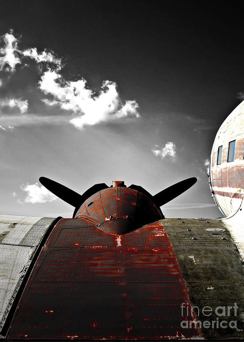 Vintage Airplane Greeting Card featuring the photograph Vintage Dc-3 Aircraft by Steven Digman