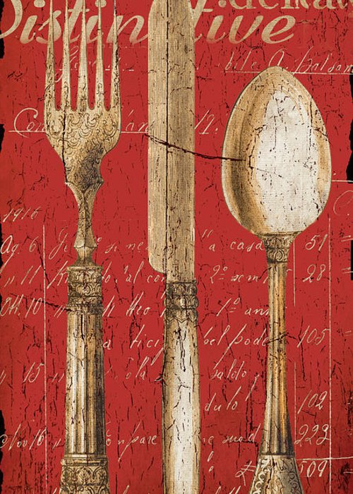 Dining Greeting Card featuring the painting Vintage Dining Utensils In Red by Grace Pullen