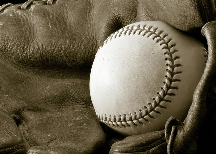 Baseball Greeting Card featuring the photograph Vintage Glove by Shawn Wood