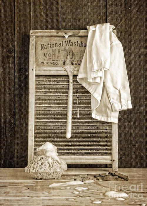 Laundry Greeting Card featuring the photograph Vintage Laundry Room by Edward Fielding