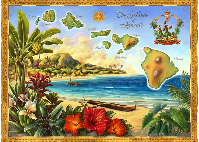 Vintage Map Greeting Card featuring the mixed media Vintage Map Of Hawaii by Anne Wertheim