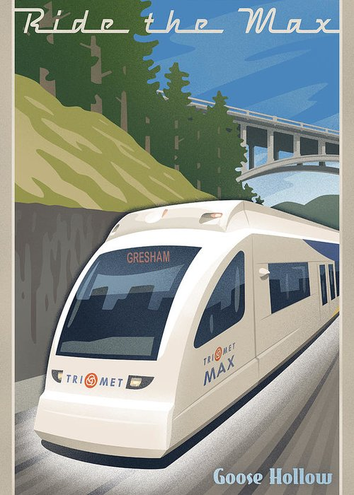 Street Greeting Card featuring the digital art Vintage Max Light Rail Travel Poster by Mitch Frey