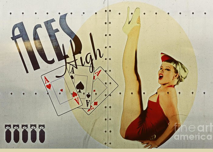 Noseart Greeting Card featuring the digital art Vintage Nose Art Aces High by Cinema Photography