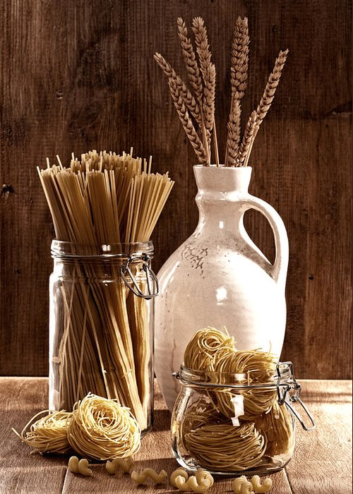 Spaghetti Greeting Card featuring the photograph Vintage Pasta by Amanda Elwell