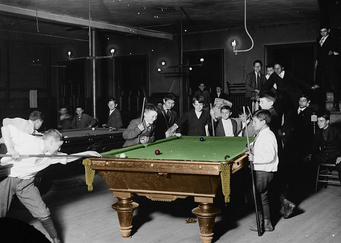 Pool Hall Greeting Card featuring the photograph Vintage Pool Hall by Andrew Fare