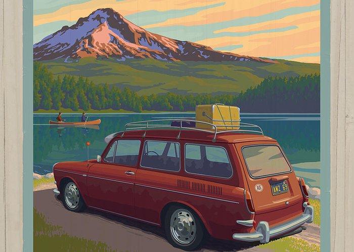 Mount Greeting Card featuring the digital art Vintage Squareback At Trillium Lake by Mitch Frey