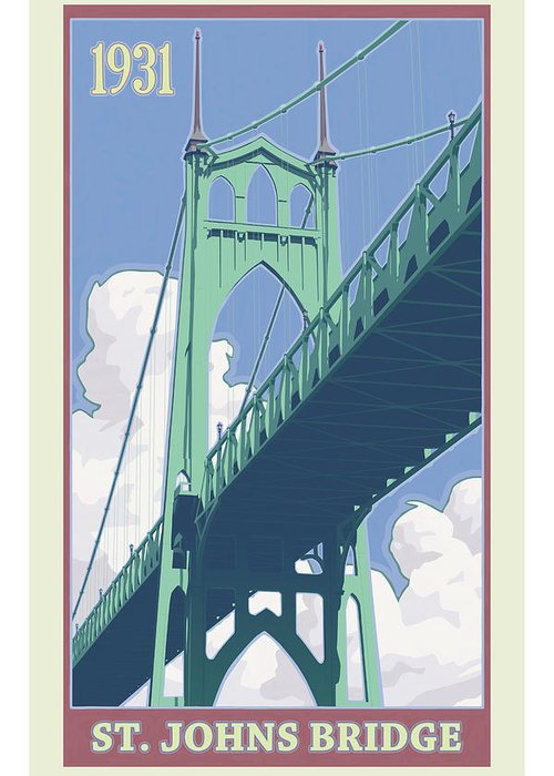 Oregon Greeting Card featuring the digital art Vintage St. Johns Bridge Travel Poster by Mitch Frey