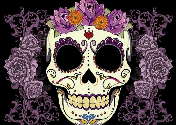 Sugar Skull Greeting Card featuring the digital art Vintage Sugar Skull And Roses by Tammy Wetzel