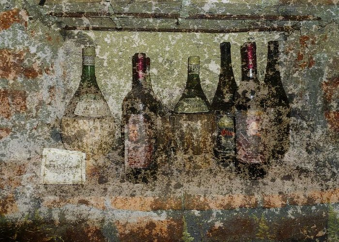 Wine Greeting Card featuring the photograph Vintage Wine Bottles - Tuscany by Jen White