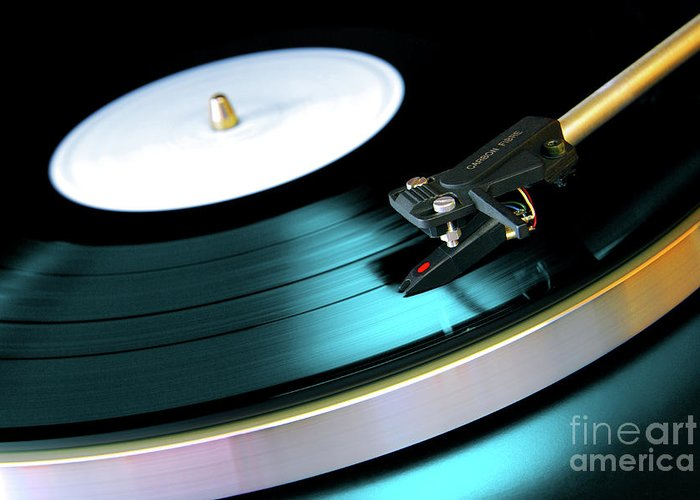Abstract Greeting Card featuring the photograph Vinyl Record by Carlos Caetano