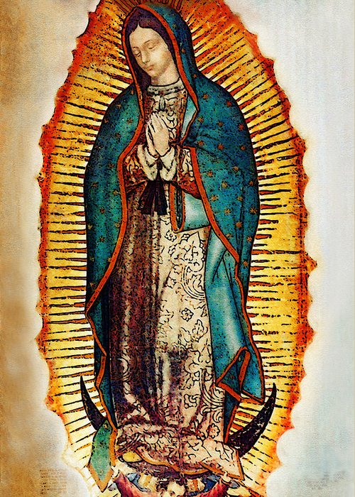 Virgin Mary Greeting Card featuring the photograph Virgen De Guadalupe by Bibi Romer