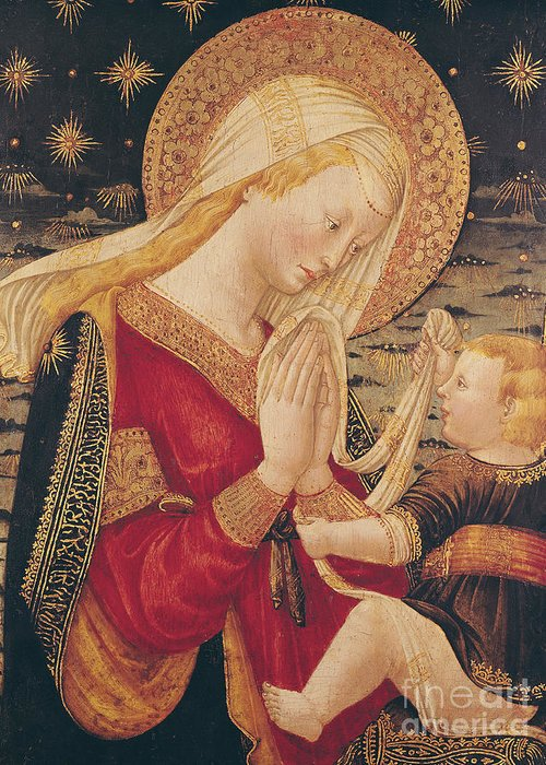 Virgin And Child (tempera On Panel) By Neri Di Bicci (1419-91) Greeting Card featuring the painting Virgin And Child by Neri di Bicci