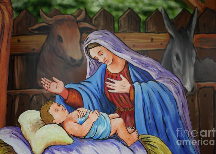 Creche Greeting Card featuring the photograph Virgin Mary And Baby Jesus by Gaspar Avila