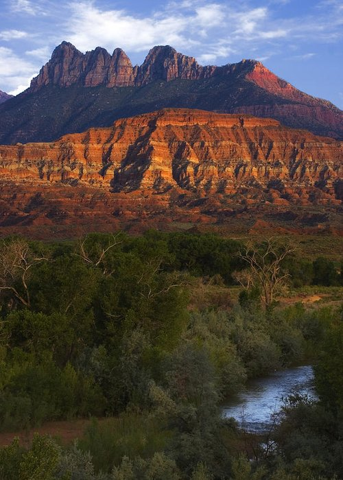 Zion National Park Greeting Card featuring the photograph Virgin River Near Zion National Park by Utah Images