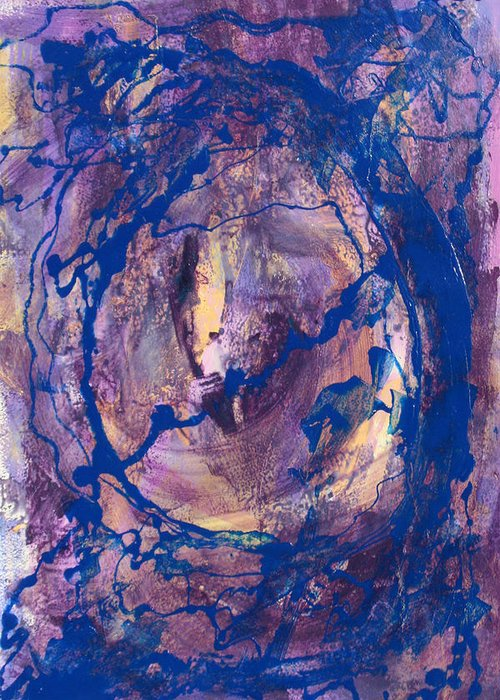 Abstract Greeting Card featuring the painting Vortex by Mordecai Colodner