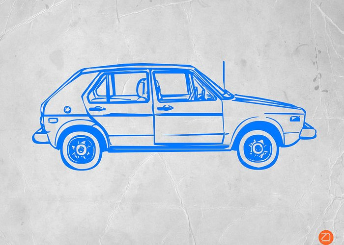 Greeting Card featuring the drawing Vw Golf by Naxart Studio