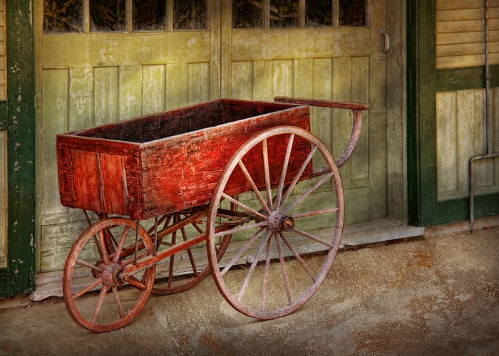 Country Greeting Card featuring the photograph Wagon - That Old Red Wagon by Mike Savad