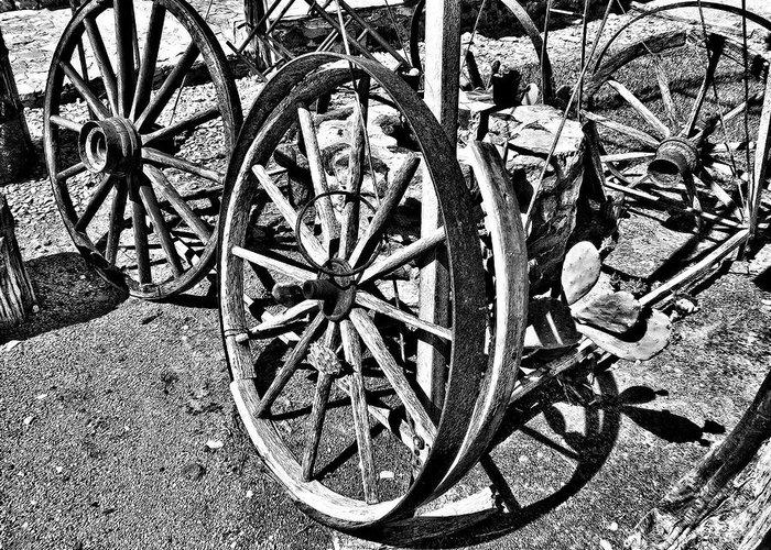 Wagon Wheels Greeting Card featuring the photograph Wagon Wheel Graveyard by Douglas Barnard
