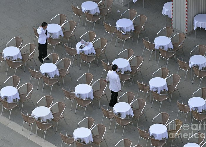 Venice Greeting Card featuring the photograph Waiters At Empty Cafe Terrace On Piazza San Marco by Sami Sarkis