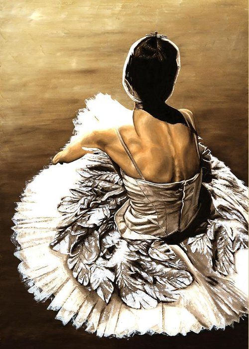 Ballet Greeting Card featuring the painting Waiting In The Wings by Richard Young